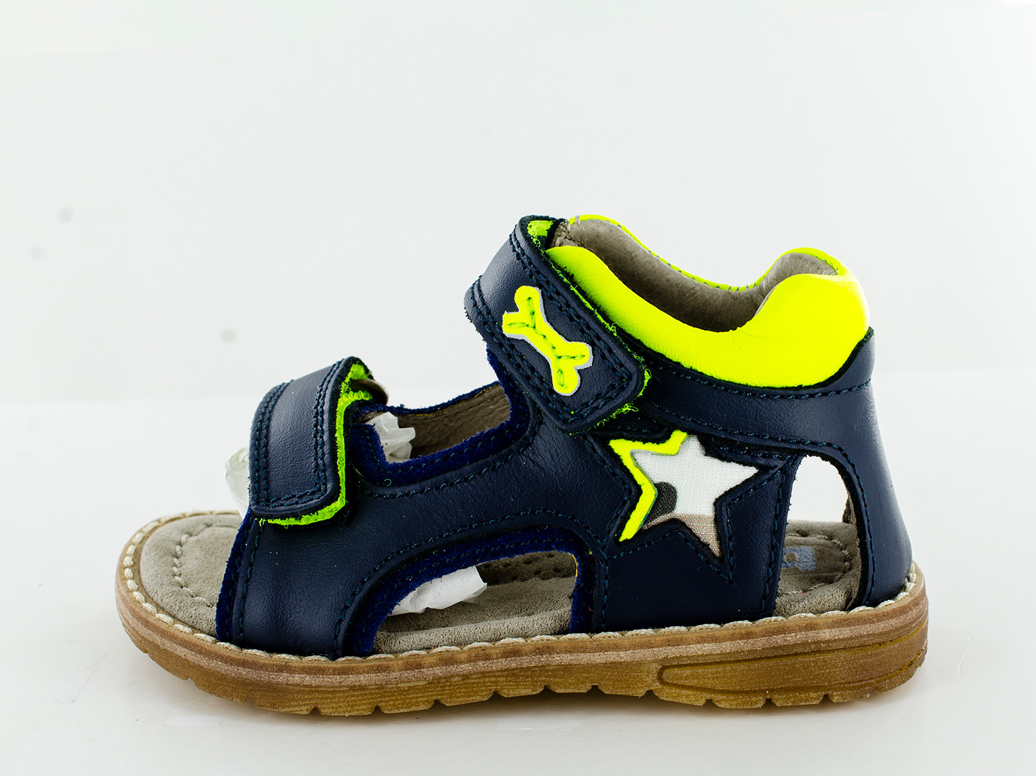DONG calf navy + yellow fluo