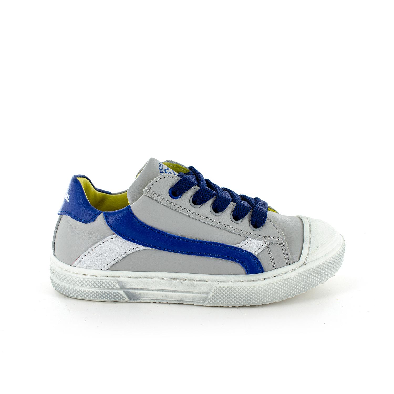 MAUST calf l.grey + electric blue